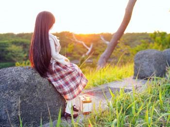 夕日と由綺ちゃん