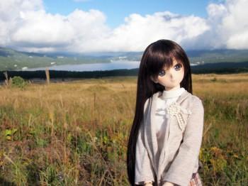 山中湖とススキと由綺ちゃん